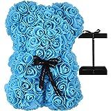 AZXU - Orsacchiotto composto da rose artificiali, per anniversari, regalo per mamma, confezione regalo trasparente inclusa -