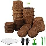 Herefun Set di Vasi da Coltivazione, Vasi Per Semina, Vaso per Semi in Fibra Biodegradabile, Set Coltivazione con Terreno in