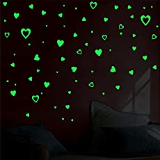 Creatick Studio Vinyl Glow in The Dark Hearts Removable Decals Peel and Stick Stickers - Pack of 2