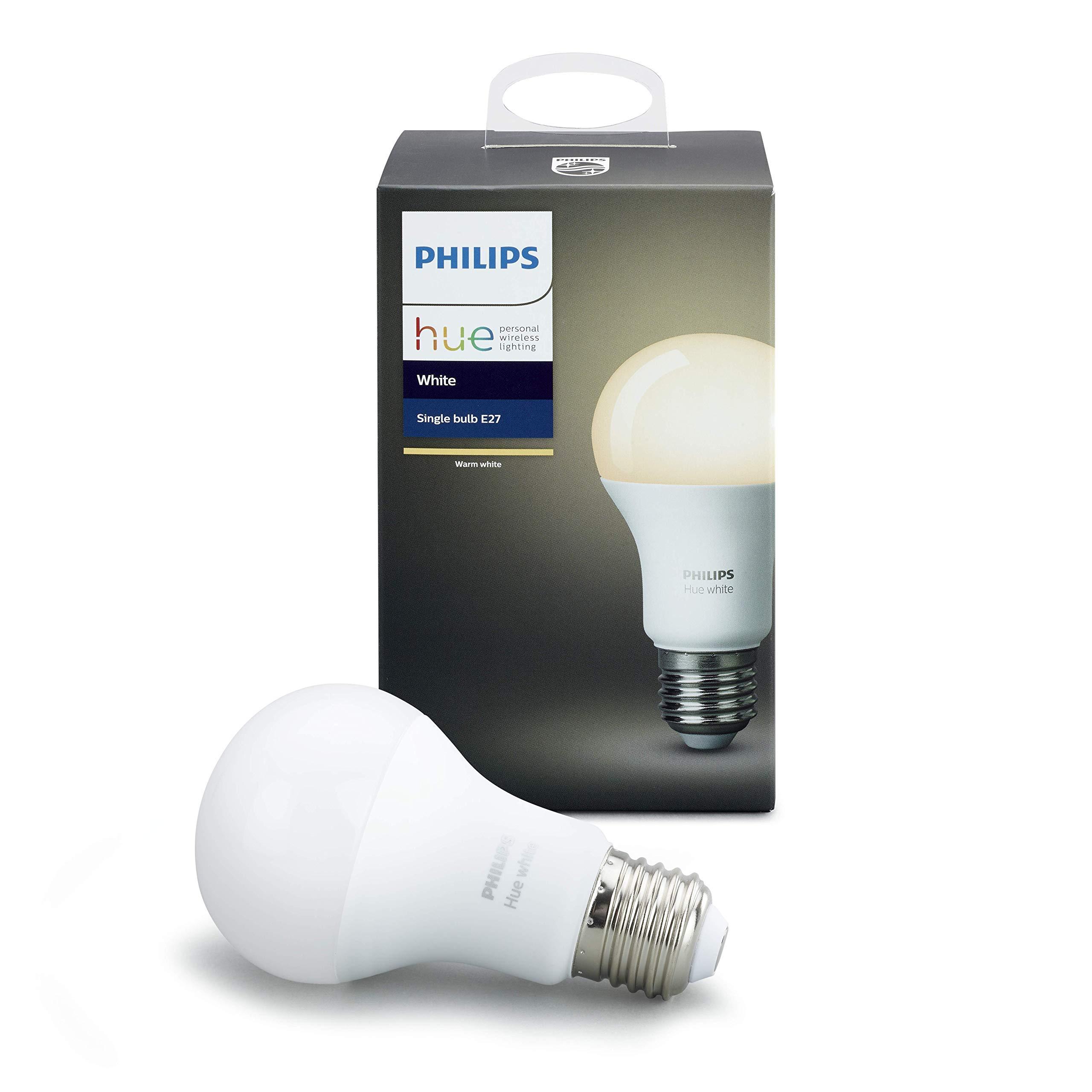 Philips Lighting White Lampadina Intelligente LED Dimmerabile Equivalente A19 E27 60 W Philips Hue Bianca (Compatibile con Amazon Alexa, Apple Homekit, Google Assistant), 1 Pezzo