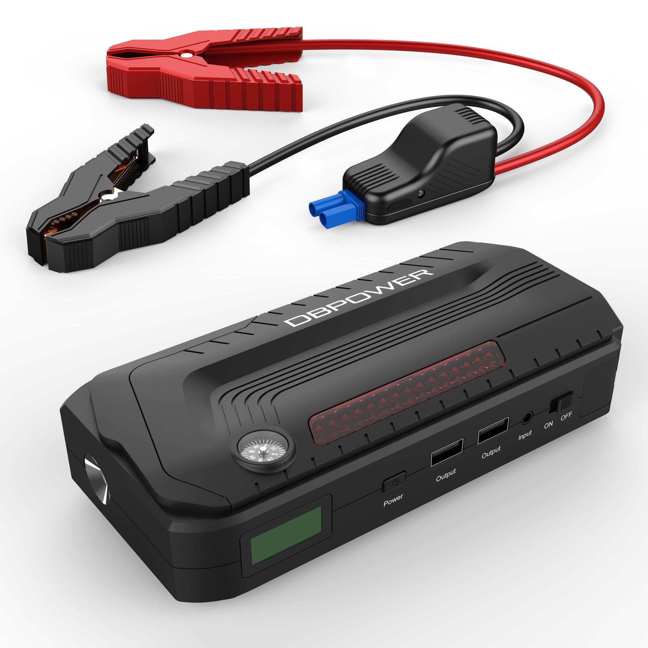 DBPOWER800A Arrancador de batería, 18000mAh, portátil, batería portátil, batería externa, cargador con doble USB de carga, linterna LED y pantalla LCD