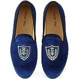 Uomo Annata Ricamo Nobile Velluto Mocassino Scarpe Slip-on Loafer Pantofole per Fumatori Nero/Rosso/Blu