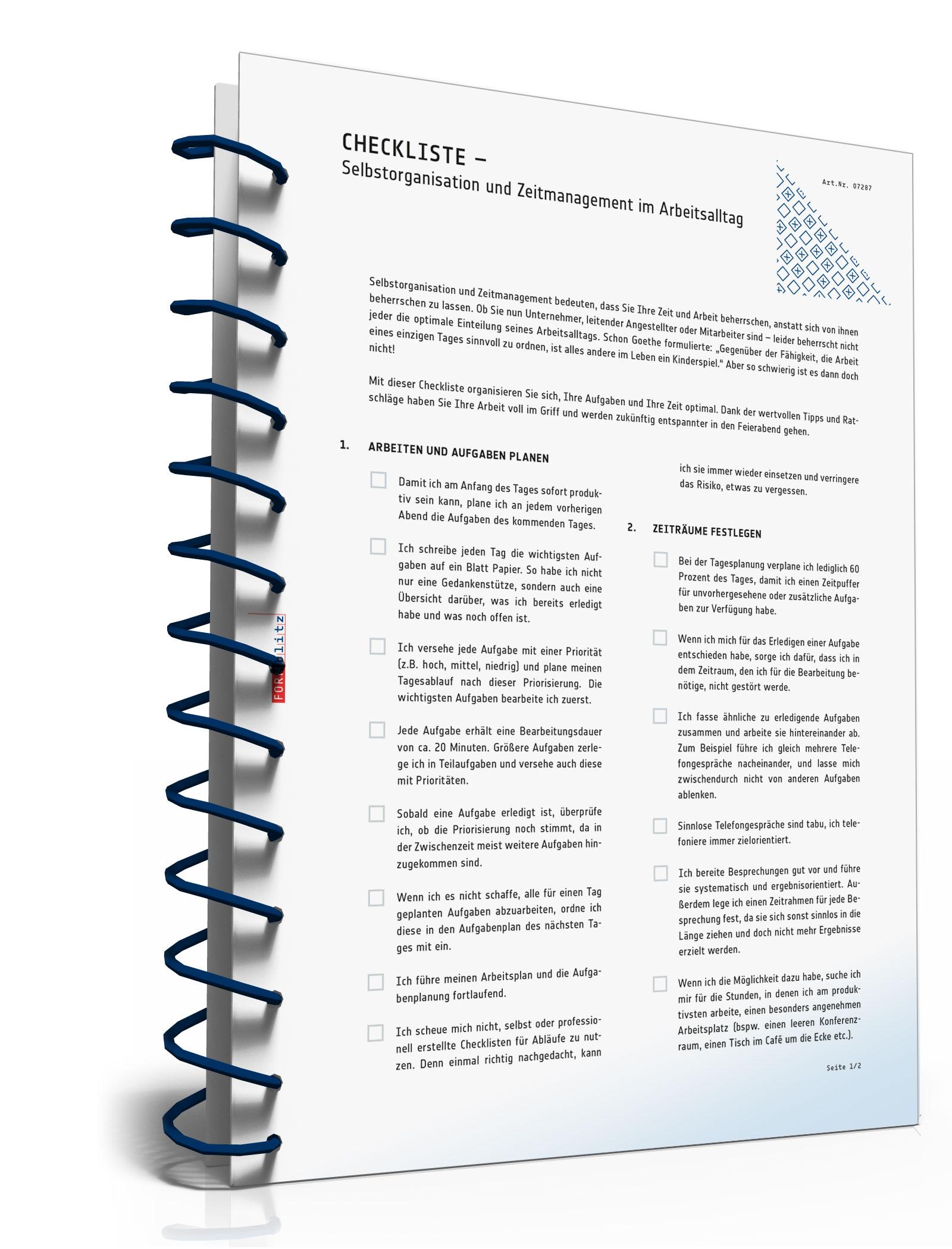 Checkliste Selbstorganisation/Zeitmanagement Arbeitsalltag [PDF Download]