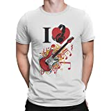 Upteetude I Love Music White Round Neck Graphic T Shirt For Men Large