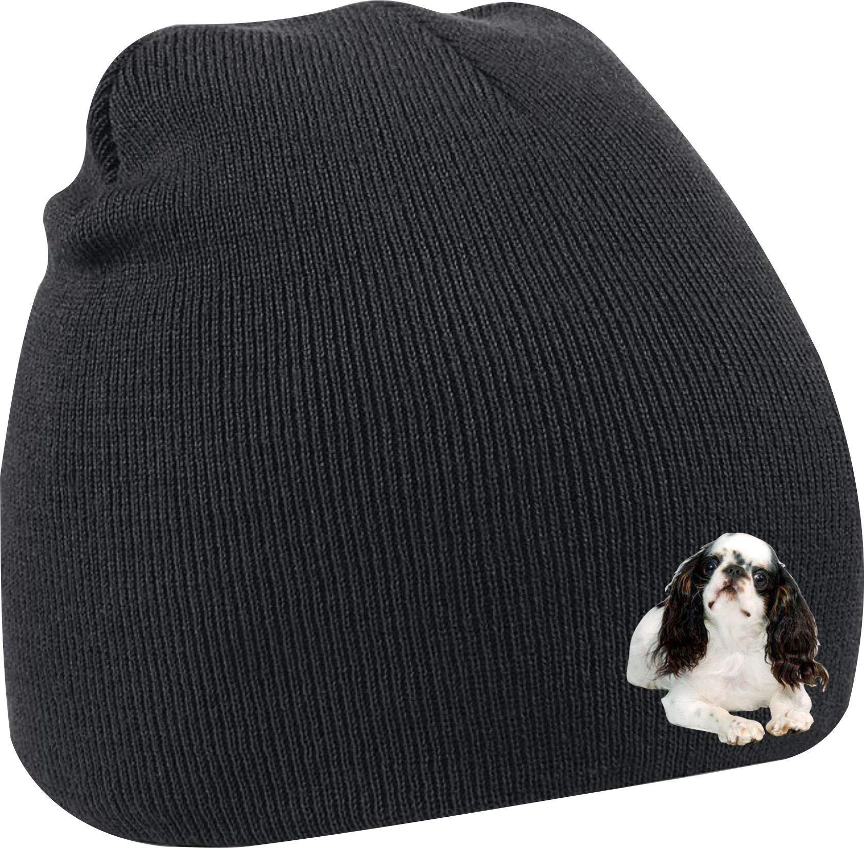 Taurus Clothing English Toy Spaniel Dog Personalised Embroidered Beanie Black