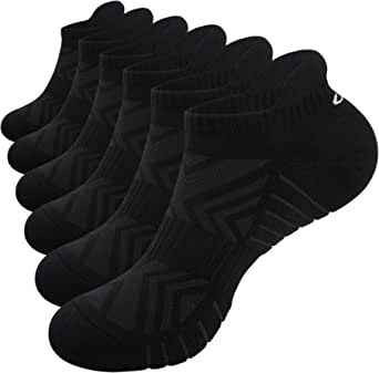 RUIXUE Mens Running Socks, Cushioned Sports Socks Anti-Blister Cotton Trainer Socks for Men Women Ladies Low Cut Breathable Athletic Ankle Socks (6 Pairs)