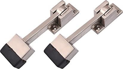 Klaxon KBM3 Brass Door Stopper (Silver, Pack of 2)