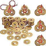50 Piezas 1 Pulgada de Moneda Feng Shui China Moneda I Ching y 5 Juegos de Moneda de Riqueza con Cuerda Roja para Riqueza y B