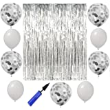 ستائر لامعة بشراشيب من الرقائق المعدنية، 5 قطع من البالونات بالقصاصات الورق اللامعة، 10 قطع من بالونات اللاتكس باللون الابيض