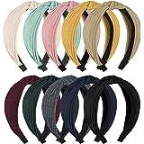 HBselect 10 PCS Cerchietti per Capelli Tinta Unita 6 Colori Diversi Rivestimento in Tessuto Cerchietto Capelli per Donna Raga
