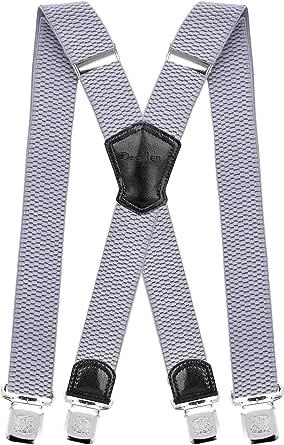 Decalen Bretelle Uomo Eleganti Extra Forte Clip Taglia Unica per Uomini e Donne Grandi e alti Larghezza Regolabile di 4 cm e Forma a X Elastica