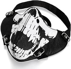 JewelryWe Schmuck Biker Motorrad Maske Sturmmaske Skimaske Gesicht Maske aus Leder - Totenkopf Skull Face