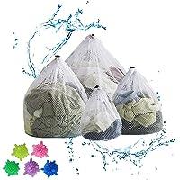 RayE Lot de 4 sacs à linge réutilisables avec bloqueur de cordon - Grand filet à linge pour machine à laver, sous…