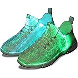 Shinmax Scarpe LED Scarpe Fibra Ottica 7 Colori 4 MODS Scarpe USB Ricaricabili Accendino Sneaker Super Leggero per Uomo e Don