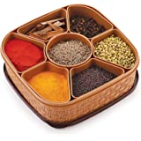 Nakoda Woven Sq Titan Masala Box (Dabba) - 7 Sections, 700ml, Assorted Colour (Multicolour)