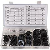 CCLIFE Coffret de 300 Circlips en acier, Lot d`anneau de retenue, Kit E-clip (15-22 mm) Circlips en E
