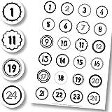 Adventskalender Aufkleber (Zahlen 1-24) - Sticker für Kalender zum selber basteln für Weihnachten…