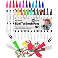 24 Pennarelli Punta Fine, Dual Brush Pen con Punta Fine 0,4 mm e 1-2mm Punta Brush, Penne da Colorare ad Acquerello per…