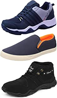 Chevit Men's Combo Pack of 3 Casual & Sports Shoes (Loafers & Running Shoes)