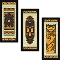 FATMUG Wall Paintings For Living Room With Frame - Set of 3 Large Tribal Modern Abstract Art With Glass