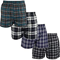 Gaffer Mens Boxers Woven Check Shorts Underwear Trunks Assorted Open Fly Elasticated Waist