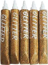 Asian Hobby Crafts Glitter Sparkle Glue Tubes, Golden (25mlx5)
