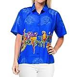 LA LEELA Women's Dress Hawaiian Shirt V-Neck Summer Tops DR