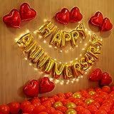 CherishX.com Premium Anniversary Decorations for Home Balloon Kit with 1pc Golden Happy Anniversary Letters, 1pc Fairy LED Li