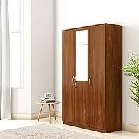 Amazon Brand - Solimo Medusa Engineered Wood wardrobe walnut finish ,3 Doors