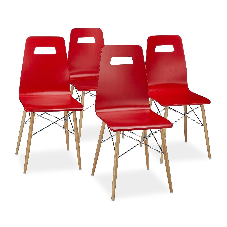 relaxdays arvid set 4 sedie per soggiorno, legno, bianco, 40 x 43 ... - Sedie Per Soggiorno Legno