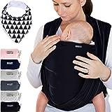Makimaja - Écharpe de portage 100% coton - noir - porte-bébé de haute qualité pour nouveau-nés et bébés jusqu'à 15 kg - incl.