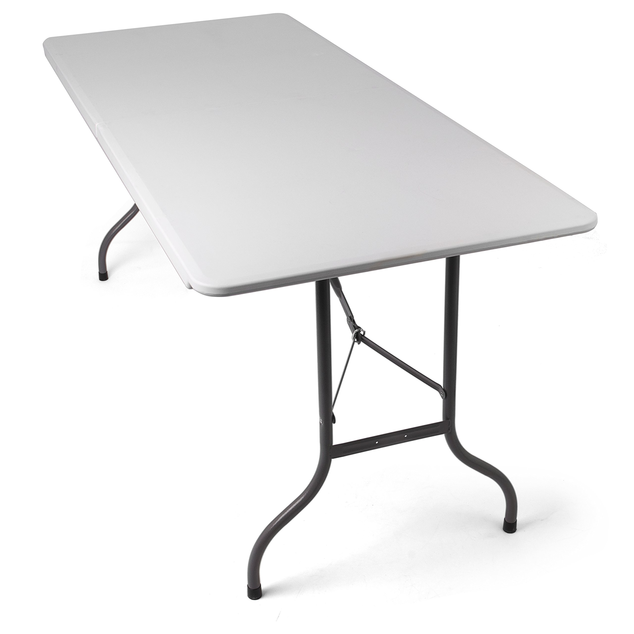 Tavolo Pieghevole da Giardino Bianco perfetto come Tavolo da Campeggio, da  Buffet, da Cucina | Tavolino Esterni Richiudibile a Valigetta con Maniglia  ...