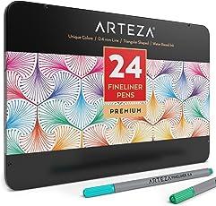Arteza Fineliner Stifte — Feine Filzstifte 0.4mm Spitze — 24 Feinstifte in Metallbox
