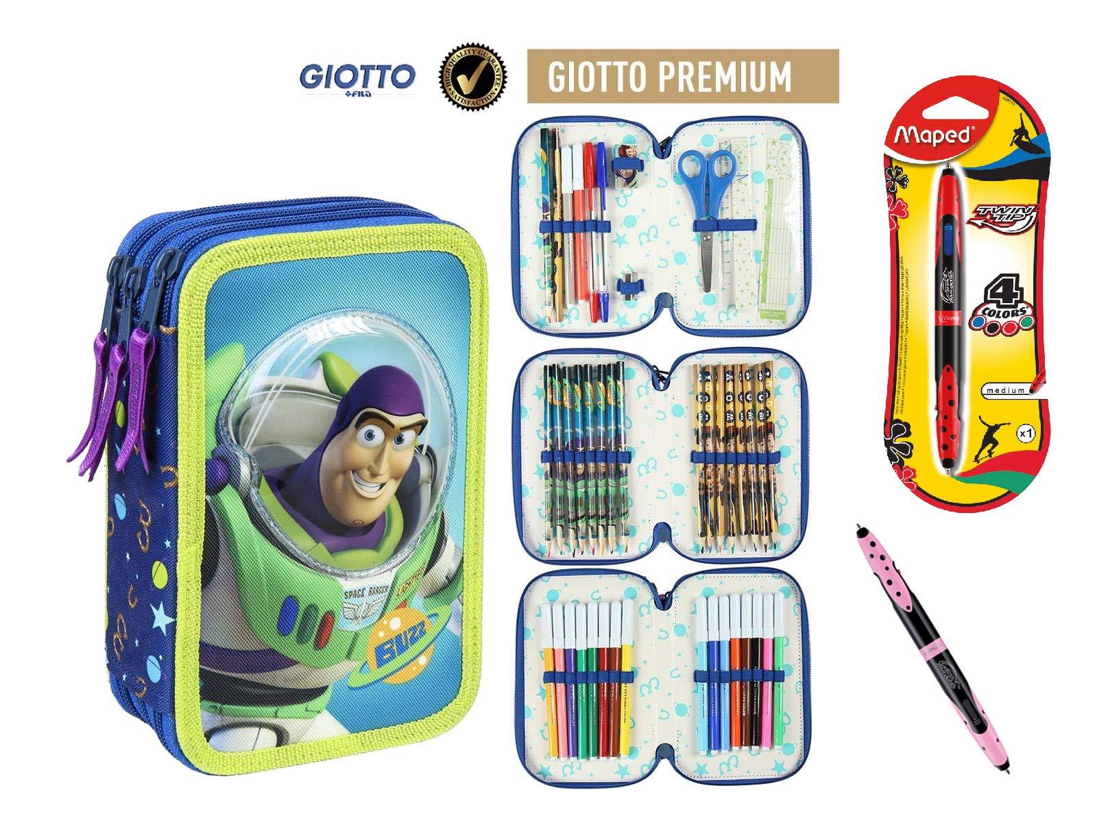 Cerdà Plumier Estuche Artesanía Premium de Cremallera Triple 3 Pisos Toy Story – Buzz – 43 Piezas Contenido Giotto + Regalo
