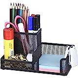 Comix Organiseur de bureau en métal grillagé avec Pot à Stylo, Range Stylo Bureau, Porte Crayon Bureau, Rangement Métallique