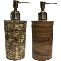 Shenron Soap Dispenser Bottle Set with Pump for Handwasher in Bathroom, Brown Plastic Body and Chrome Finish top (Pack…