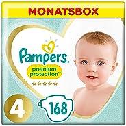 Pampers Premium Protection Windeln, Gr. 4, 9kg-14kg, Monatsbox (1 x 168 Windeln)