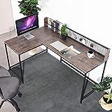 Bureau d'ordinateur en forme de L en MDF - Bureau d'angle stable - 165 x 110 x 75 à 95 cm