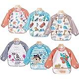 ElecMotive Pack de 6 Impermeable Baberos del Bebé PEVA de Manga Larga,Para Bebé Niños Niñas 0~3 años