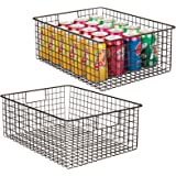 mDesign boîte en métal polyvalente (lot de 2) – grand panier de rangement en fil métallique pour la cuisine, le garde-manger,