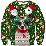 uideazone Unisex Natale Pullover Divertente Felpa di Natalizio Stampa 3D Christmas Jumper Sweatshirt per Uomo Donna