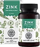 NATURE LOVE® Zink - 365 Tabletten (1 Jahr) - Hochdosiert (25mg): Zink-Bisglycinat (Zink Chelat) von Albion® - Hoch…