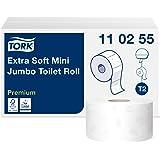 Tork 110255 Papier toilette Mini Jumbo doux Premium - Blanc - 3 plis - lot de 12 rouleaux - 12 x 600 feuilles