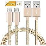 Micro USB Kabel [2-Pack, 2m] GlobaLink USB 2.0 Ladekabel Nylon - Lebenslange Garantieserie - für Android, Samsung, HTC, Sony, Nexus und mehr - Gold