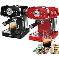 19 Bar Retro, Siebträgermaschine für Kaffee & Espresso, Milchaufschäumer, Espressomaschine, Kaffeemaschine, Cappuccino…