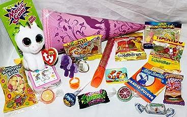 Geschenkpost24 101624 Mini Schultüte Einhorn 22cm mit Plüsch Schlüsselanhänger Einhorn Glubschi Anhänger Spielsachen zum Schulanfang