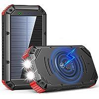 Wireless Solar Powerbank 30000mah Solar Ladegerät mit 5 Ports, Dual 1W LED Licht Externer, Tragbares Handy Power Bank…