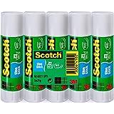 Scotch Colla Permanente in Stick Colla ad Alta Adesione senza Solventi, Lavabile, Ottimo per Bambini, 5 pz x 21 g, Bianco