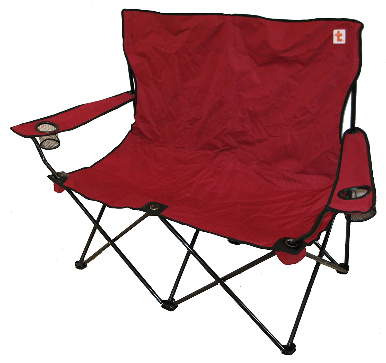 Double Folding Camping Chair Big Strong Navy Amazon