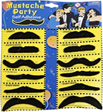 Party Butiko Assorted Self Adhesive Party Moustache 12pcs
